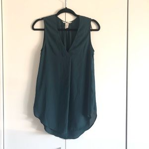 Dark Green Sleeveless Blouse